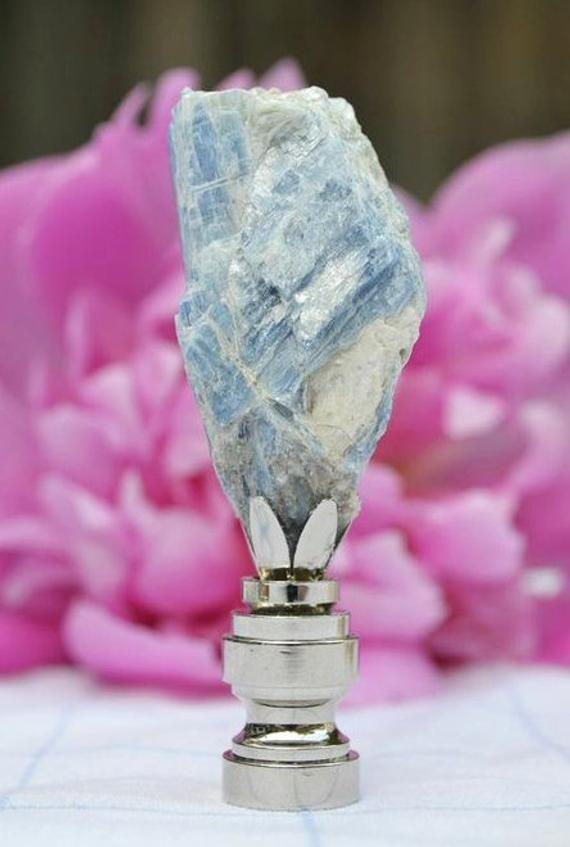 Kyanite Lamp Finial With Nickel Plated Base Lamp Finial Finials Lamp