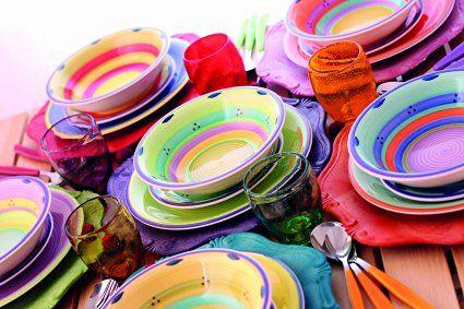 Villa d'Este Home Tivoli Baia Servizio Piatti, Hard Dolomite, Multicolore, 18 Pezzi: Amazon.it: Casa e cucina