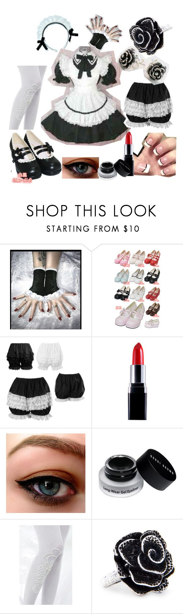 """""""If I Owned A Lolita Cafe-- Uniforms"""" by slave2myfantasy ❤ liked on Polyvore featuring Bodyline, Bobbi Brown Cosmetics, Bebaroque, MANGO, apron, waitress, cafe, uniform, lolita and bodyline"""