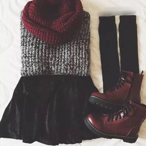 | Salt and Pepper Knit Sweater | Black Velvet Skirt | Burgundy Doc Martens | Burgundy Knit Infinity Scarf | Black Knit Knee High Socks |