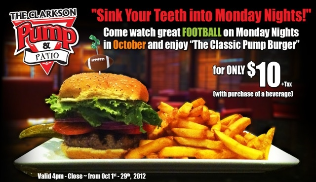 """Mondays in October:  NFL and a $10 """"Classic Pump Burger"""" at The Clarkson Pump & Patio"""