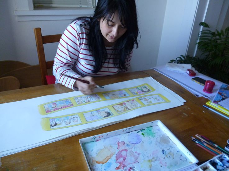 Serena Geddes illustrator working on the drawings for 'Gracie and Josh'