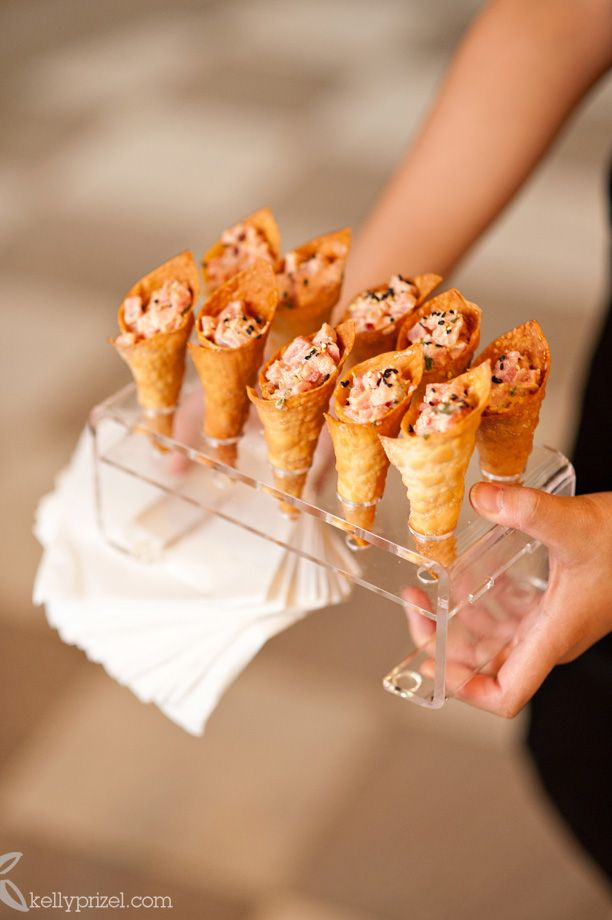 Spicy Tuna served in Wonton Ice Cream cones with Toasted Black Sesame Seeds @ candyandco.com wedding!    Food by Spilled Milk Catering