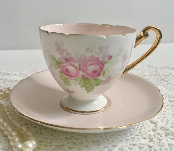Vintage Shelley bone china tea cup and saucer, made in England.