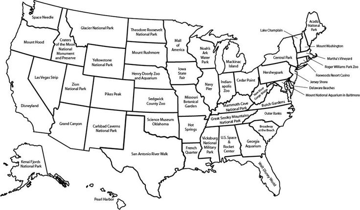 Going on a road-trip? Here are the major attractions in each state according to Wikipedia.