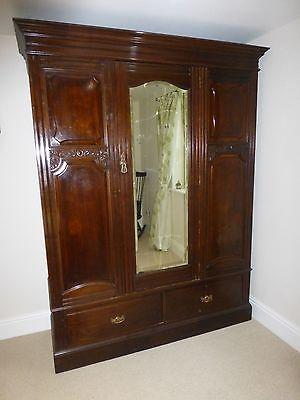 Victorian mahogany triple wardrobe