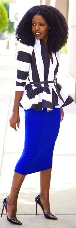 Pencil Skirt Outfits And Black Blouse Jacket Black Royal White Blue And