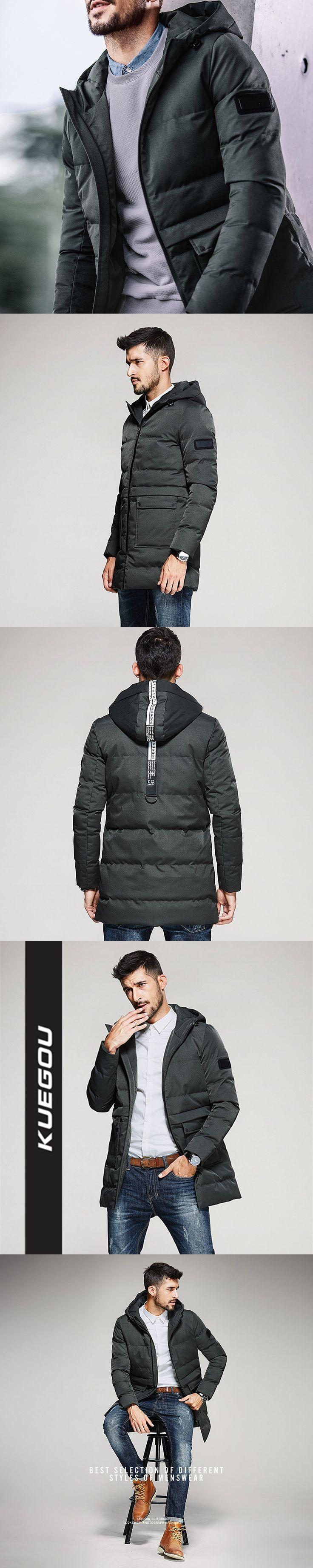 Kuegou 2018 New Men's Retro Green Parkas Men Coats Winter Jacket hooded Polyester Outwear Veste Homme Tops Suprem Size 7686