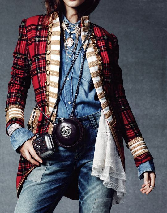 Giedre Dukauskaite is Royal Casual for Elle France by Bjarne Jonasson -Ralph Lauren Tartan Jacket