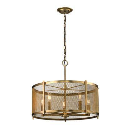 Elk Lighting Rialto 5 Light Pendant in Aged Brass