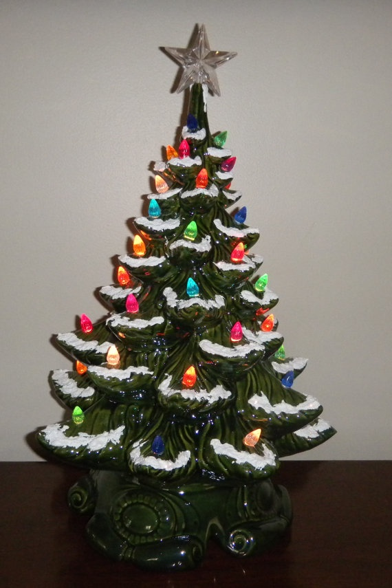 Large Old Fashion Green Ceramic Christmas Tree 18 Inches