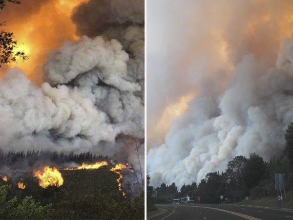 KYK: Dramatiese foto's wys hoe vlammehel huise naby gewilde vakansiedorp vernietig