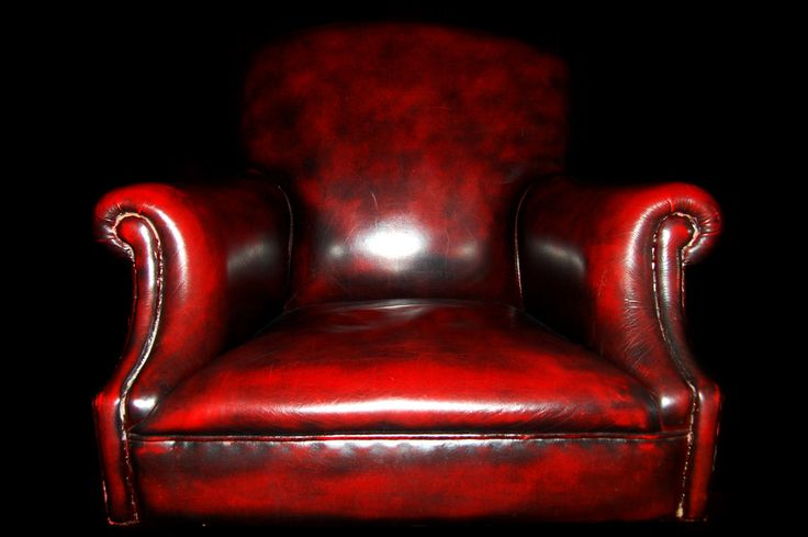 photograph photography red chair leather armchair dark flash lit