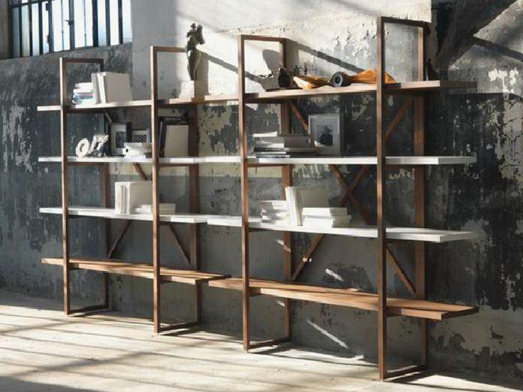 Libreria a giorno in legno massello ASSIOMA - LINFA DESIGN