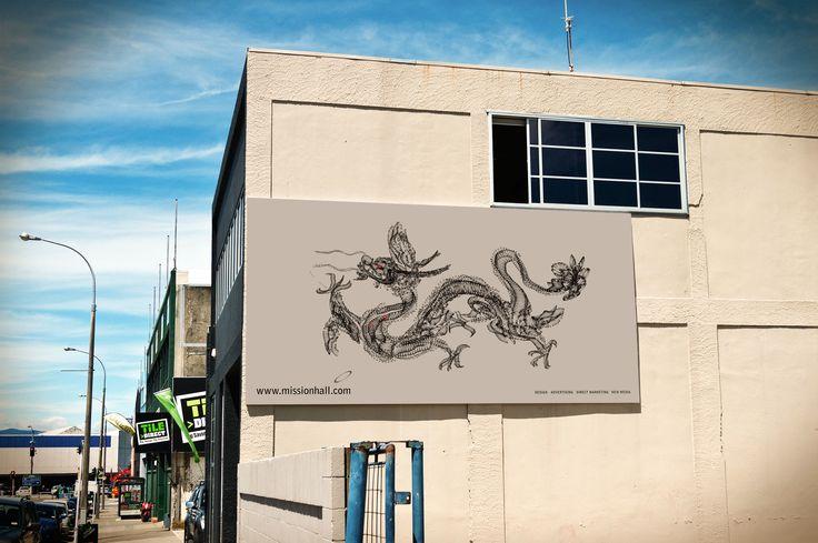 Billboard design - Design Dragon. Mission Hall Wellington New Zealand