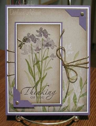 By Darleen Adamo (darleenstamps at Splitcoaststampers). I like the way the stamps on the main cardfront panel continue the scene from the inset panel.
