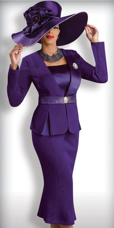 Purple Church Suits   Donna Vinci Knits 2918 Womens Purple Church Suit image