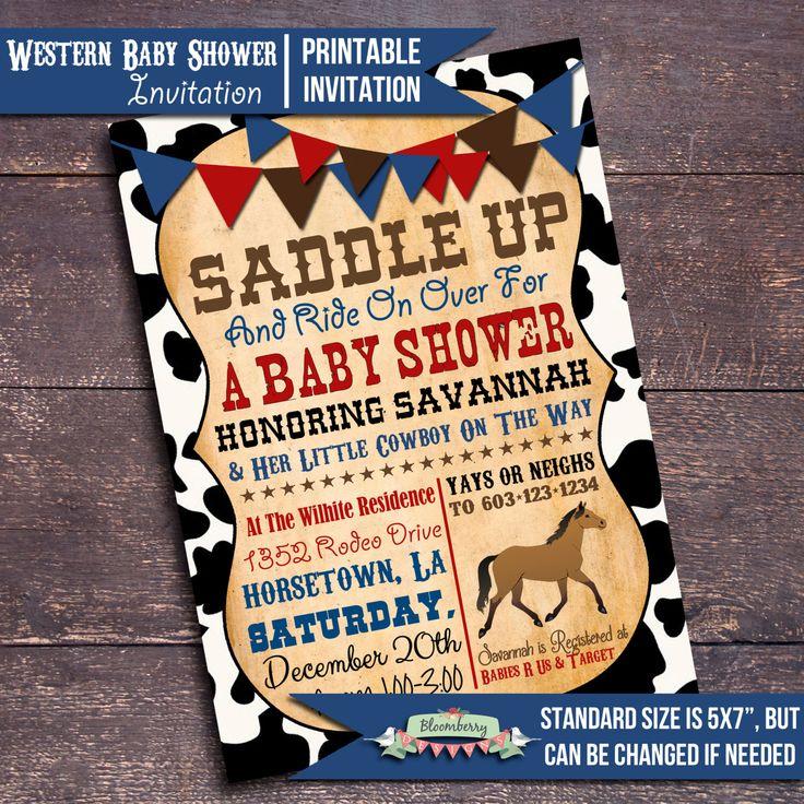 Printable Western Baby Shower Invitation, Western Baby Shower, Cowboy Baby Shower, Boy Baby Shower Invitation, Horse Baby Shower Invitation by BloomberryDesigns on Etsy https://www.etsy.com/listing/208792615/printable-western-baby-shower-invitation
