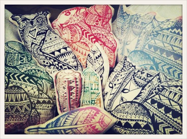 ©Kristinz Veritaz Design / triangle animal designs on pillows for my screen printing exhibtion