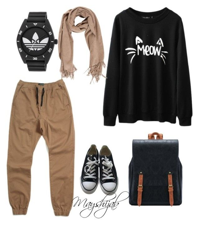 Mayshijab by maysaroh on Polyvore featuring polyvore fashion style Zanerobe Converse adidas clothing