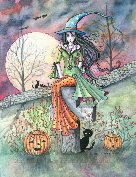 October Chill Fantasy Art Original Witch Cat Halloween Archival Giclee Print 9 x 12  Molly Harrison