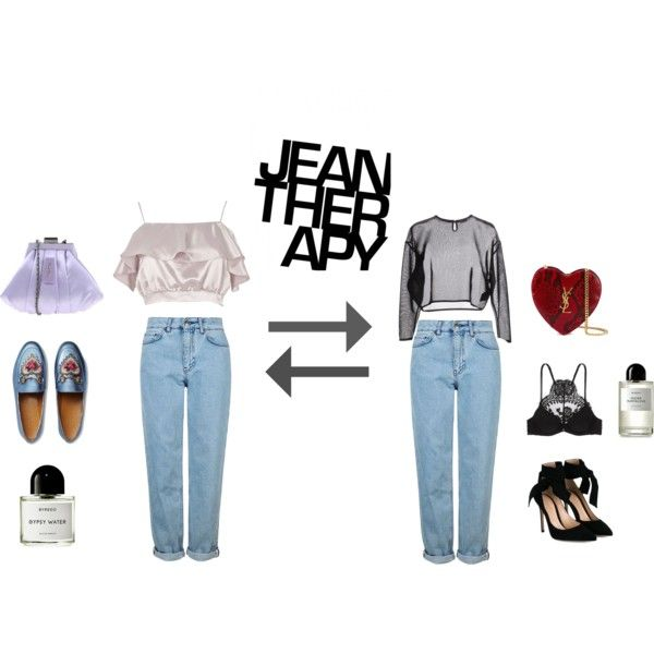 Jean therapy by alcalams on Polyvore featuring Yves Saint Laurent, River Island, La Perla, Topshop, Gianvito Rossi, Gucci, Byredo and Therapy