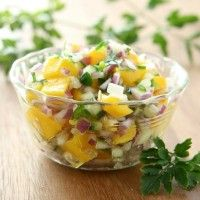 Mango salsa perfect for Taco Tuesday, fish dishes and on baked chips!