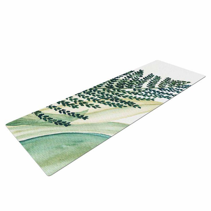 "Viviana Gonzalez ""Botanical Vibes 02"" Green Pastel Watercolor Yoga Mat"