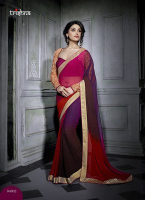 Tempting Multi Colored Border Worked Faux Georgette Saree Sarees on Shimply.com