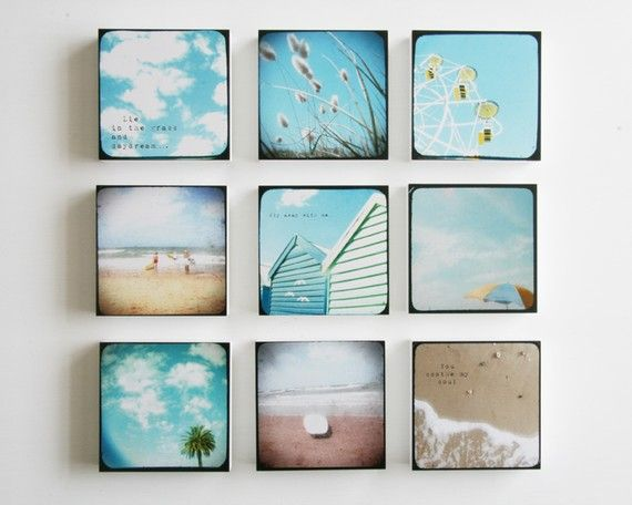 A set of 9 beach photo blocks beach decor turquoise for Summer beach decor