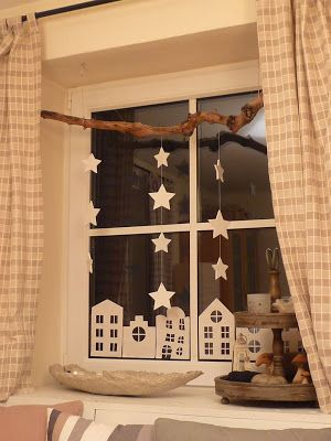 Papercut houses & hanging stars window decoration - lovely idea, great for children