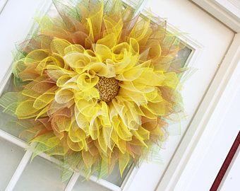 Guirnalda, guirnalda girasol amarillo, Deco malla flor, guirnalda de la flor de Dalia, puerta guirnalda, guirnalda de la flor, Halloween, caída, coronas, flor