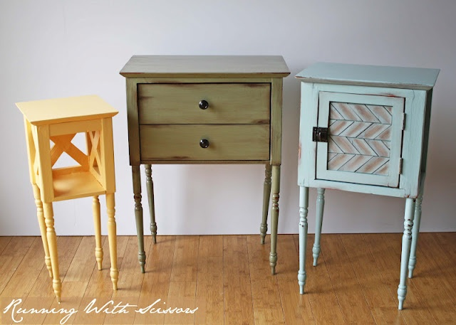 Very clever upcycling! This blog is impressive.: Side Tables, Sewing Tables, Cottages Side, Tables Saw, Old Tables, End Tables, Pottery Barns Inspiration, Tables Makeovers, Nests Tables