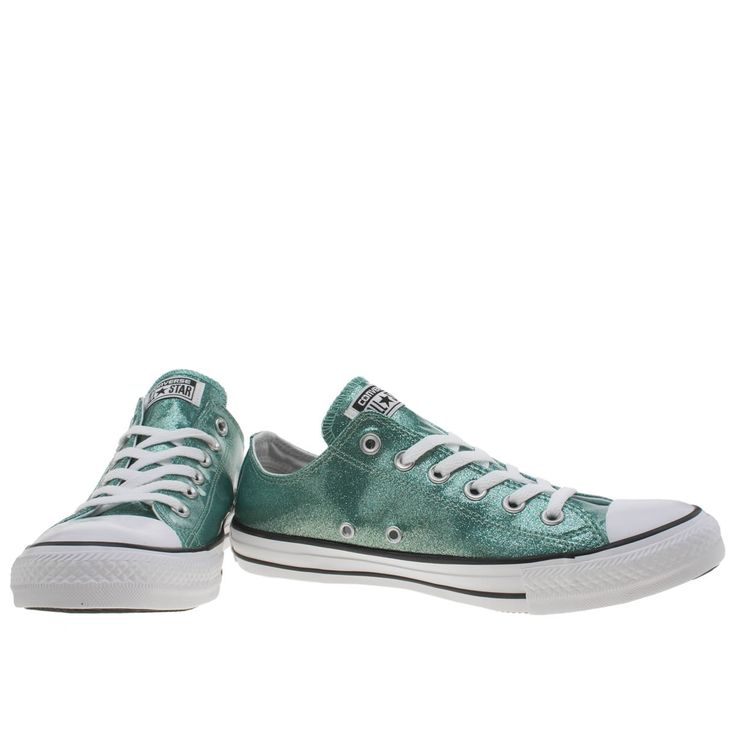 womens converse turquoise cons as glitter ox trainers