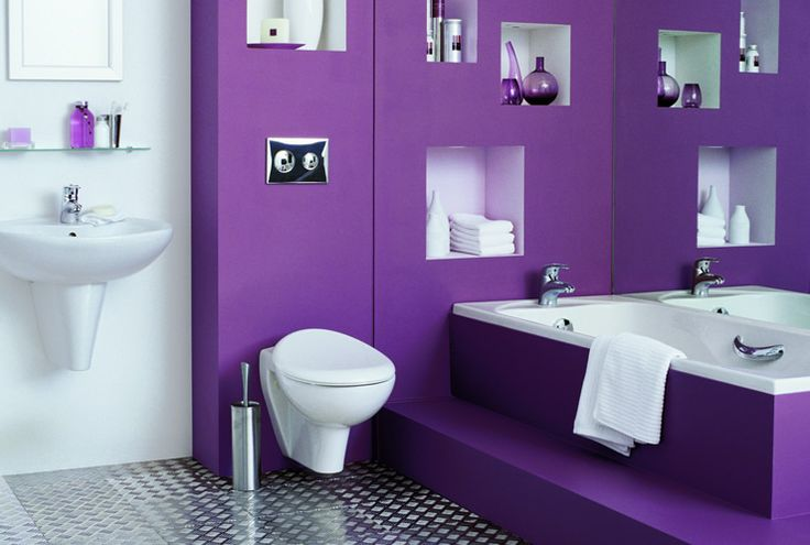 Bathroom in purple and white with cubbyholes