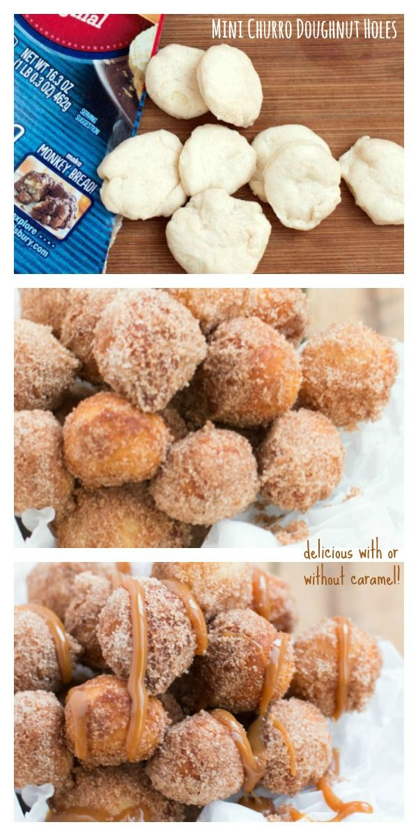 Mini churro doughnut holes coated with cinnamon and powdered sugar and drizzled with caramel!
