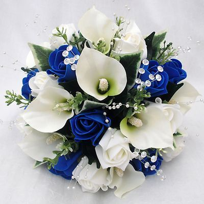 Blue Flowers For Wedding Bouquets Bride Bridesmaids Posy Cala Lilies Royal Roses