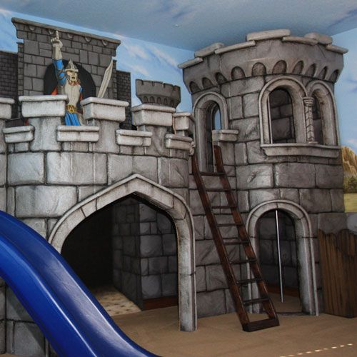 Medieval Castle Playhouse and Mural from PoshTots: Idea, Boys Rooms, Photos Kids, Medieval Castles, Kids Photos, Castles Playhouses, Loft Design, Kids Rooms, Kids Design