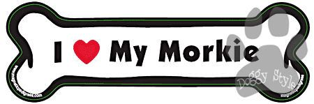 I Love My Morkie Dog Bone Magnet