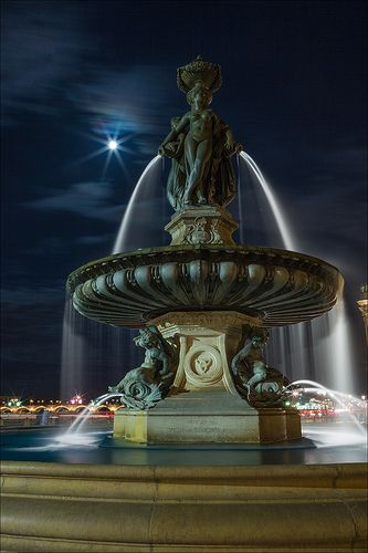 Under the Moonlight, Three Graces Fountain ~ Bordeaux, France