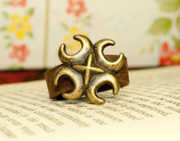 half moons abstract brass ring size adjustable