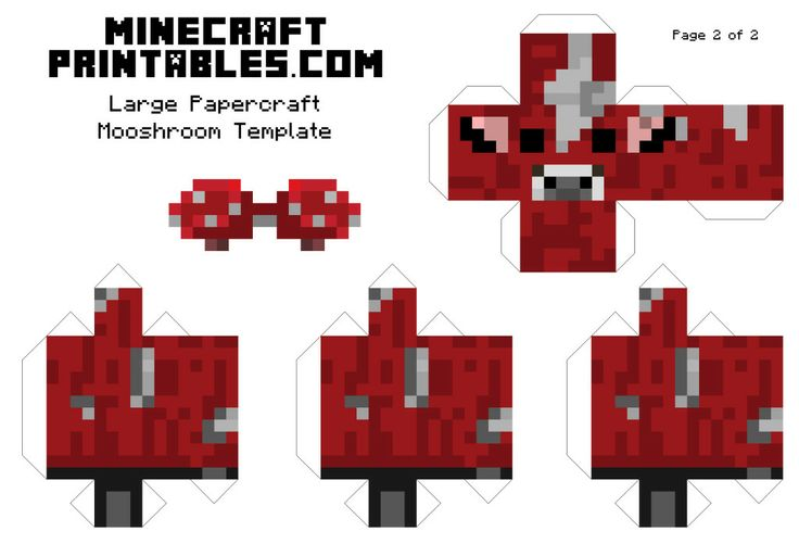 Minecraft printable mooshroom template large page 2 for Minecraft cut out templates