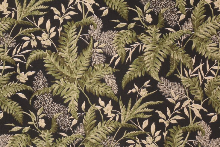 Waverly Tropical Printed Cotton Drapery Fabric in Black. This printed fabric is perfect for window treatments, decorative pillows, handbags, light duty upholstery applications and almost any craft project....