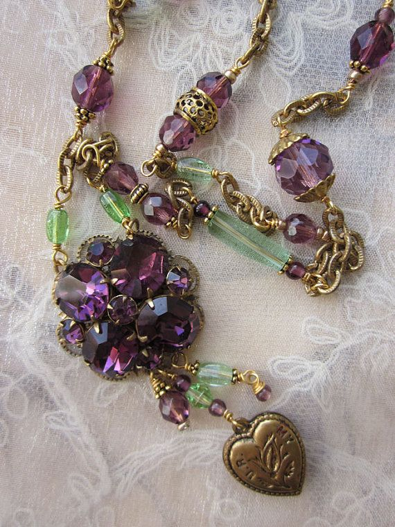 "SOLD Spring is nearly here and I love the combination of these purple and green vintage beads.  Another ""one of a kind"" design by jryendesigns.etsy.com"