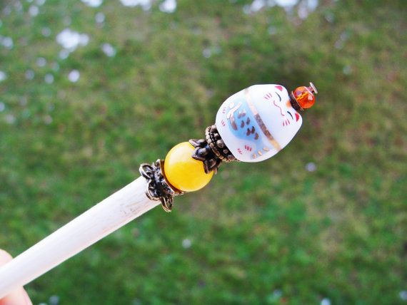 Wooden japanese hair stick and maneki neko fortune lucky cat ceramic bead with yellow marble and crystal - kanzashi, hairpin, pin chopstick