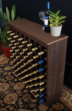 64 Bottle Deluxe Style Wine Rack in Pine with Burgundy Stain