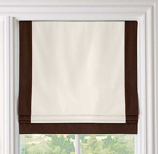 Bordered cotton canvas cordless roman shade roman shades for Restoration hardware window shades