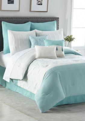 Home Accents Lisette 10 Piece Comforter Bed In A Bag Spa Blue