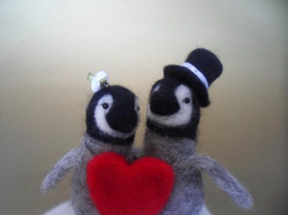 Penguin Wedding Cake Topper with Heart Needle Felted