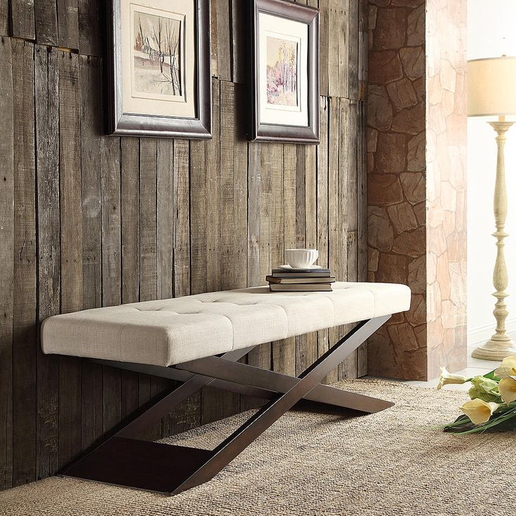 Oxford Creek Harris X Base Tufted Bench in Beige - Home - Furniture - Accent Furniture - Accent Benches & Stools